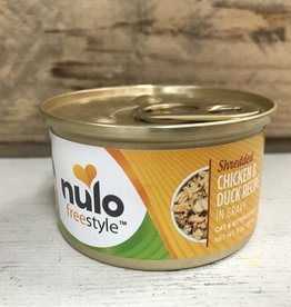 Nulo Nulo FreeStyle 3oz  GF Cat Shredded Chicken & Duck in Gravy can
