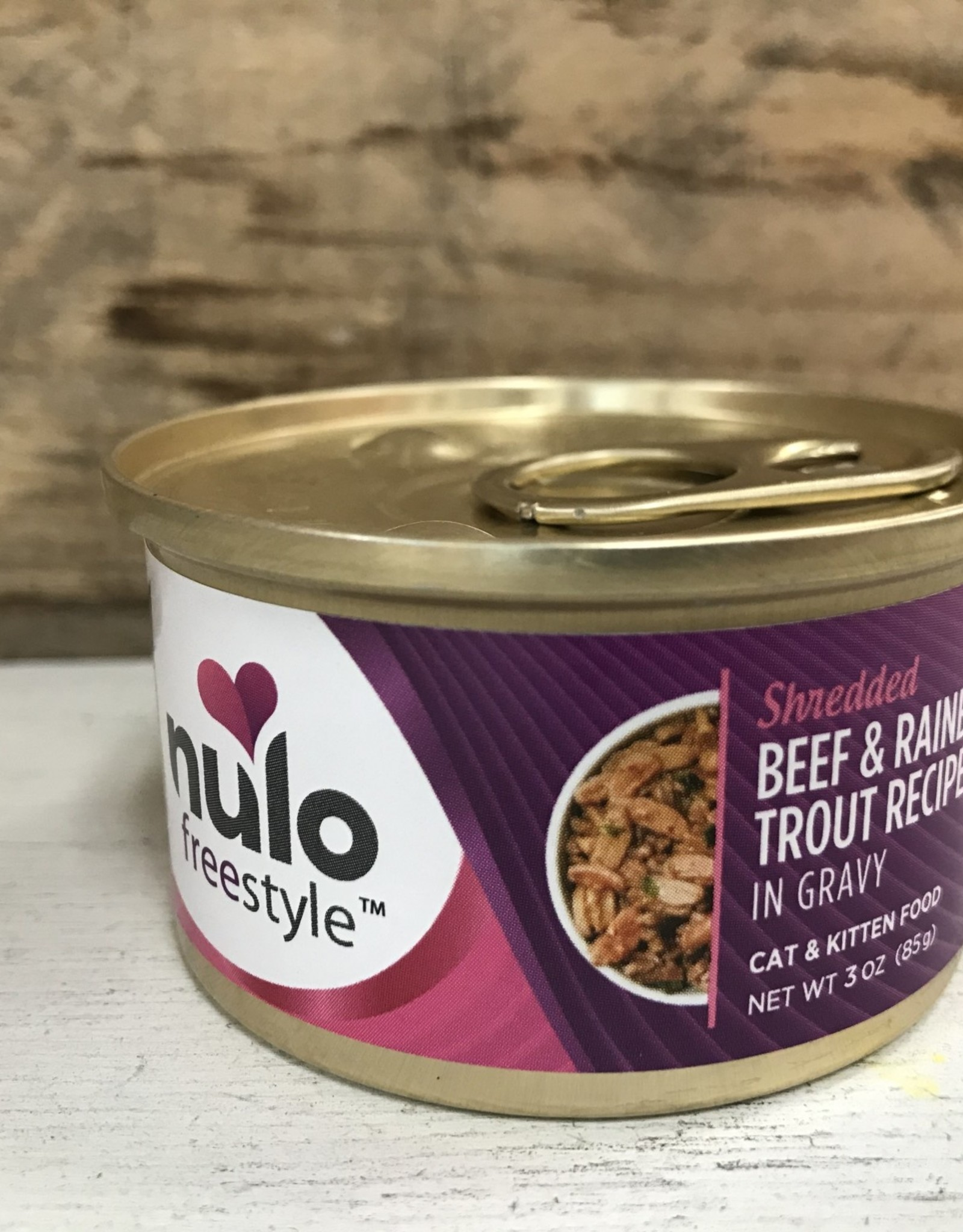 Nulo Nulo FreeStyle 3oz GF Cat Shredded Beef & Rainbow Trout in Gravy can