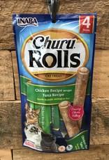 Inaba Ciao Inaba Churu Rolls Chicken Recipe wraps Tuna Recipe 4/.35z tubes