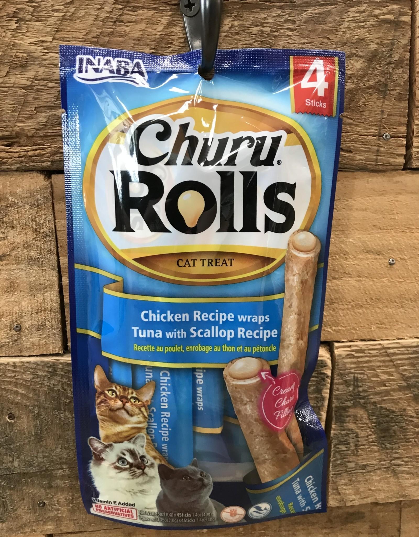 Inaba Ciao Inaba Churu Rolls Chicken Recipe wraps Tuna with Scallop Recipe 4/.35z tubes