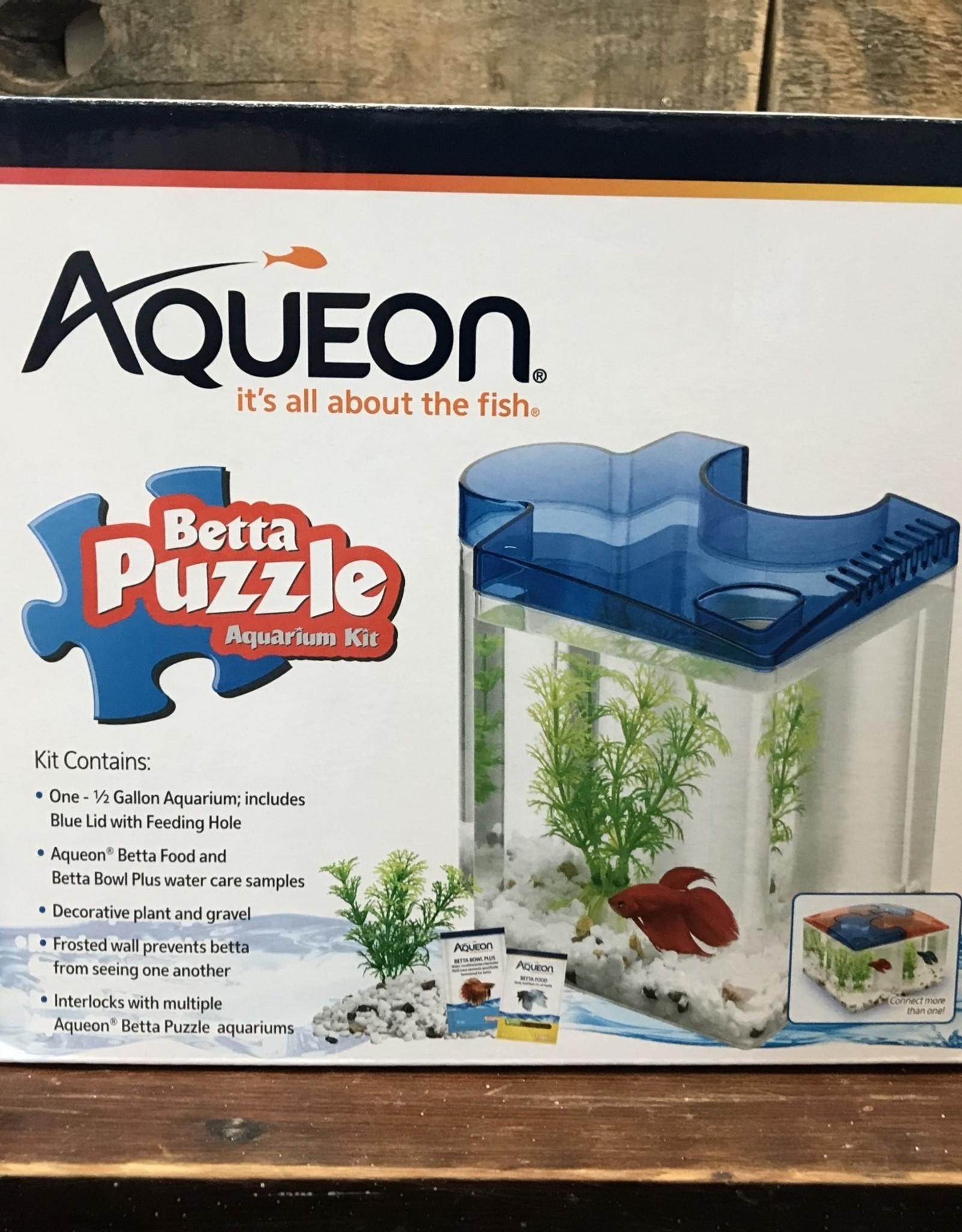 Aqueon kit betta puzzle blue .5 gal