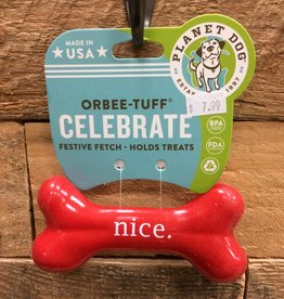 Outward Hound - Planet dog XMS Planet Dog Orbee-Tuff Holiday Nice Funny Bone Small Made in USA
