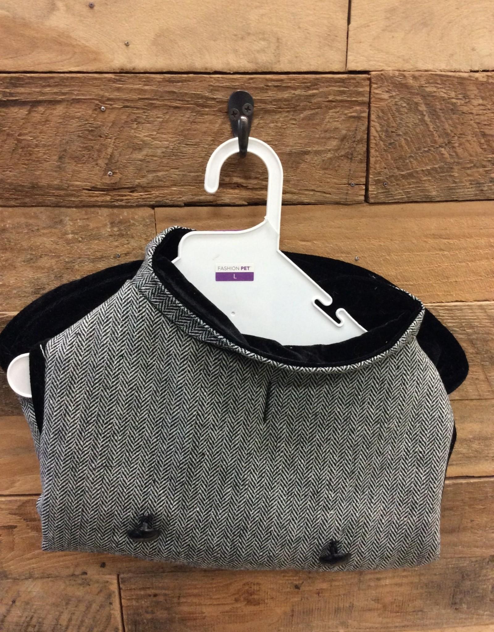 Fashion Pet Tweed Coat Gray Large