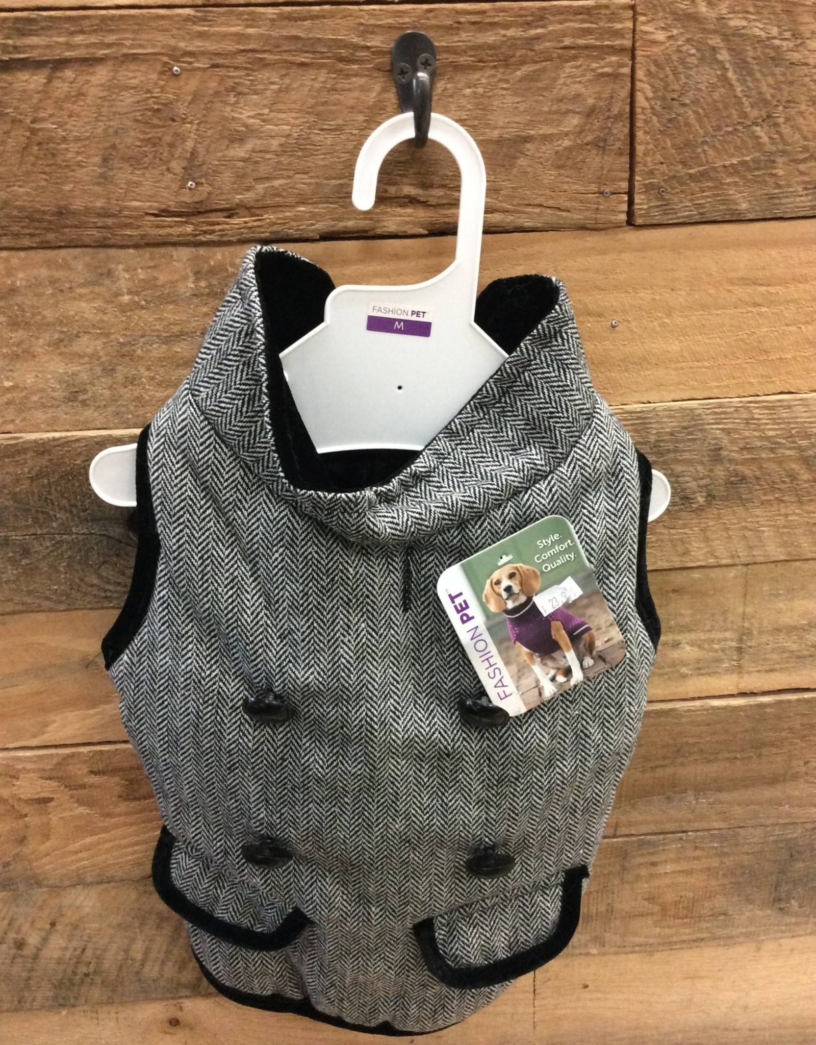 Fashion Pet Tweed Coat Gray Medium