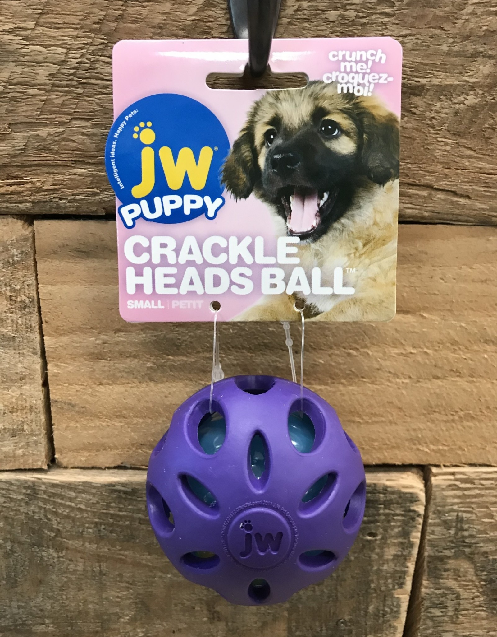 JW JW Puppy Crackle Heads Ball Small Assorted