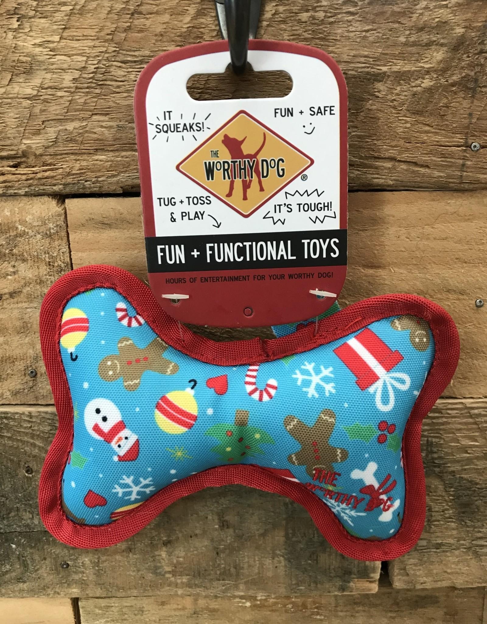 Worthy Dog Toy Xms The Worthy Dog Icy Blue Bone Small Dog toy