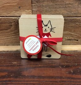 Pearhead Xms Pet Holiday Cat Drink Coasters, Set Of 4