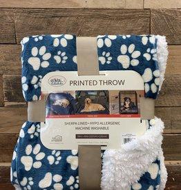 Arlee Pet Products Arlee Throw  blanket paws blue/cream blanket