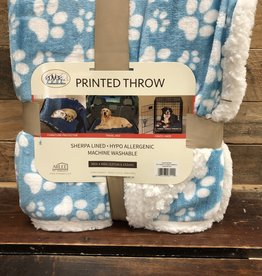 Arlee Pet Products Arlee Throw blanket puppy paws blue