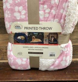 Arlee Pet Products Arlee Throw blanket puppy paws pink