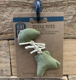 Hagen Catit Eco Terra Natural Linen Toy with Raffia - Green Fish