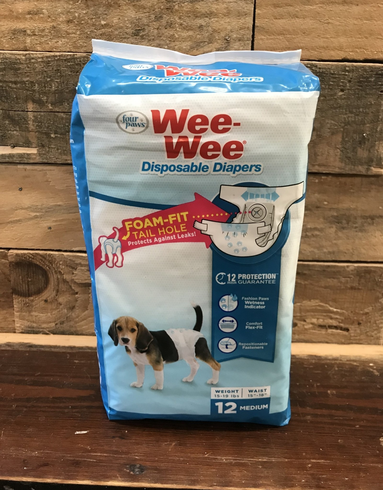Four Paws Wee-Wee Disposable Dog Diapers Md 12pk.
