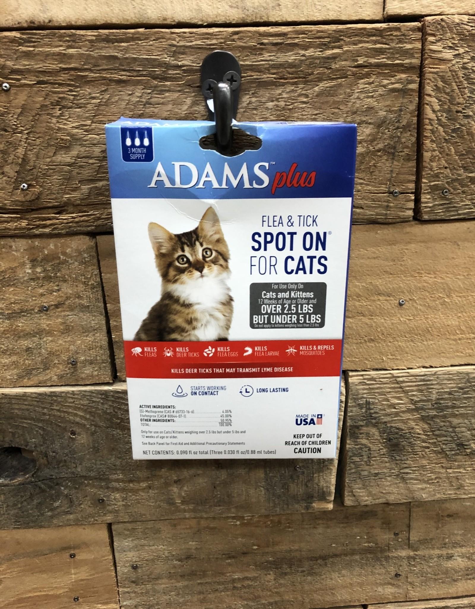 Central Life Sciences- Adams Adams Plus Flea & Tick Spot On Cat LT 5# 3 Month
