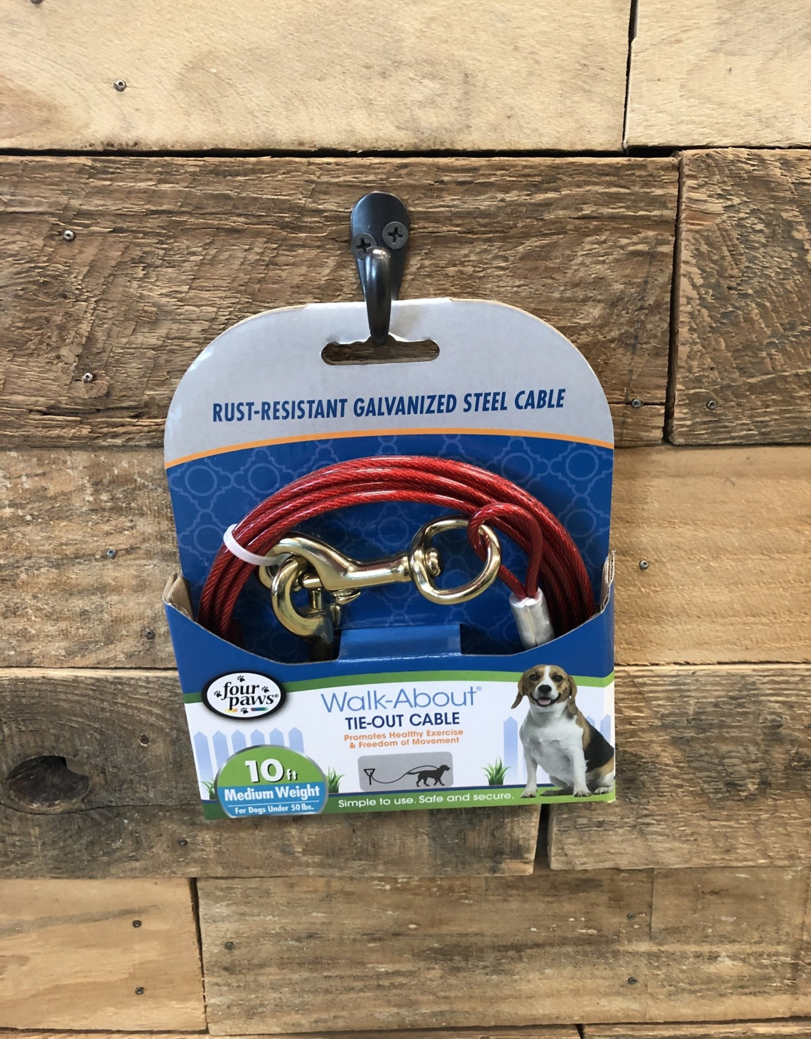 Four Paws Red Medium Weight Tie Out - 10'