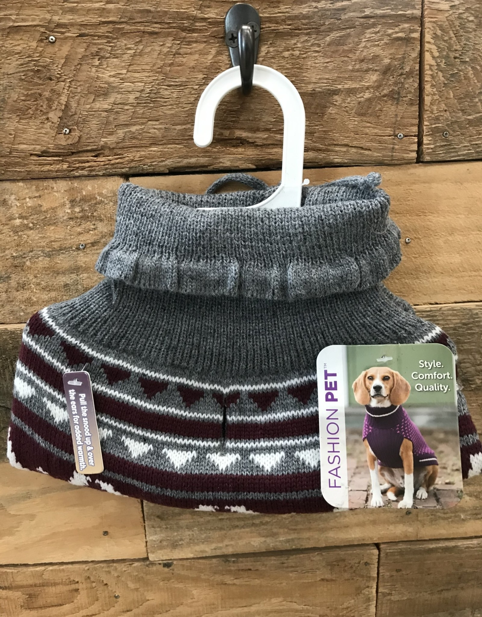 Fashion Pet Nordic Snood Sweater Gray Medium