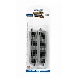 "BACHMANN TRAINS BAC 44509 33.25"" Radius 12 Degree Curved Nickel Silver E-Z Track w/Grey Roadbed 4pack"