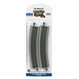 "BACHMANN TRAINS BAC 44503 22"" 22"" Radius Curved Nickel Silver E-Z Track w/Grey Roadbed (4/card)"