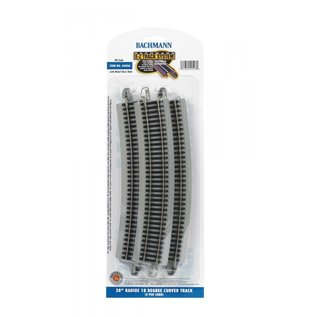"BACHMANN TRAINS BAC 44506  28"" Radius 18 Degree Curved Nickel Silver E-Z Track w/Grey Roadbed (5/card)R"