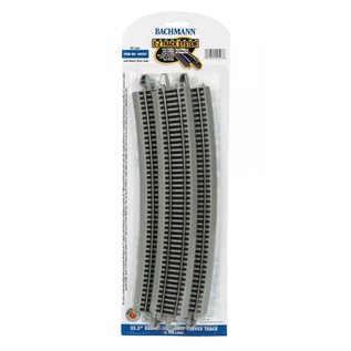 "BACHMANN TRAINS BAC 44507 35.50"" Radius 18 Degree Curved Nickel Silver E-Z Track w/Grey Roadbed (5/card)"