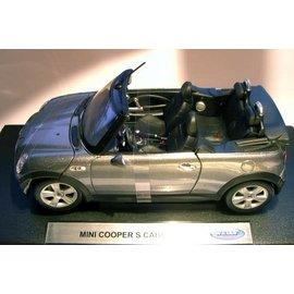WELLY WEL 2552W MINI COOPER S SILVER CABRIO 1/18 DIECAST