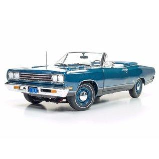 AUTOWORLD AMM 1102 PLYMOUTH GTX CONVERTIBLE BLUE 1969 1/18 DIECAST