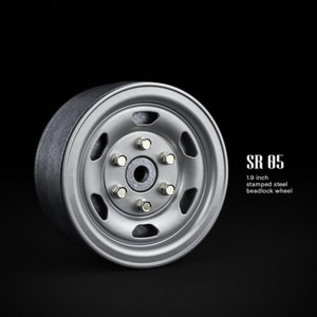 GMA 70502 1.9 SR05 Beadlock Wheels (Semigloss Silver) (2) STEELIES