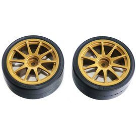 TAMIYA TAM 51219 GOLD DRIFT TYPE D PREMOUNT WHEEL AND TIRE PAIR
