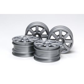 TAMIYA TAM 51334 MINI WHEELS 8 SPOKE 1/10 FLAT SILVER