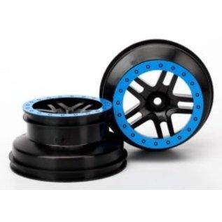 """TRAXXAS TRA 5884A Wheels, SCT Split-Spoke, black, blue beadlock style, dual profile (2.2"""" outer, 3.0"""" inner) (4WD f/r, 2WD rear) (2)"""