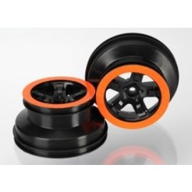 TRAXXAS TRA 5868X Wheels, SCT black, orange beadlock style, dual profile (2.2' outer, 3.0' inner) (4WD f/r, 2WD rear) (2)