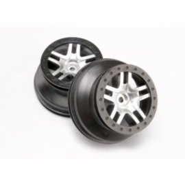 TRAXXAS TRA 6872 Wheels, SCT Split-Spoke, satin chrome, black beadlock style, dual profile (2.2' outer, 3.0' inner) (4WD front/rear, 2WD rear only) (2)