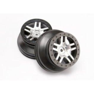 TRAXXAS TRA 6872 Wheels, SCT Split-Spoke, satin chrome, black beadlock style, dual profile (2.2' outer, 3.0' inner) (4WD front/rear, 2WD rear only) (2)