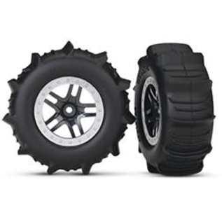 TRAXXAS TRA 5891 Tires & wheels, assembled, glued (SCT Split-Spoke satin chrome, beadlock style wheels, paddle tires, foam inserts) (2) (4WD front/rear, 2WD rear only) (TSM rated)