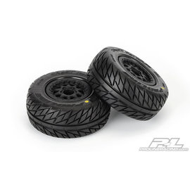 "Proline Racing PRO 116717 Street Fighter SC 2.2""/3.0"" Tires Mounted for Slash 2wd Rear & Slash 4x4 Front or Rear, Mounted on Renegade Black Wheels"
