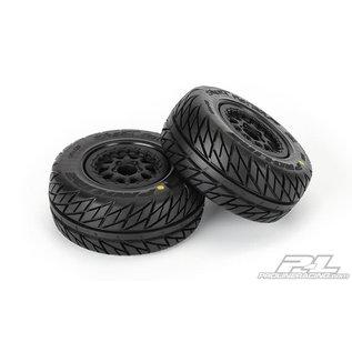 "Proline Racing PRO 116717 Street Fighter SC 2.2""/3.0"" Tires Mounted for Slash 2wd Rear & Slash 4x4 Front or Rear, Mounted on Renegade Black Wheels"