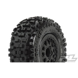 "Proline Racing PRO 118213  Badlands SC 2.2""/3.0"" M2 (Medium) Tires Mounted for Slash 2wd Rear & Slash 4x4 Front or Rear. Mounted on Renegade Black Wheels"