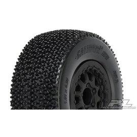 "Proline Racing PRO 117616 Caliber 2.0 SC 2.2""/3.0"" M3 (Soft) Tires Mounted for Slash 2wd Rear & Slash 4x4 Front or Rear, Mounted on Renegade Black Wheels"