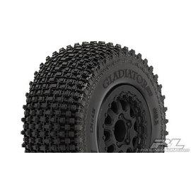 "Proline Racing PRO 116913  Gladiator SC 2.2""/3.0"" M2 (Medium) Tires Mounted for Slash 2wd Rear & Slash 4x4 Front or Rear, Mounted on Renegade Black Wheels"