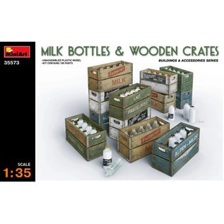 MINIART MNA 35573 MILK BOTTLES & WOODEN CRATES 1/35 MODEL KIT