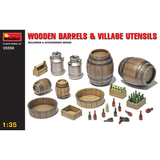 MINIART MNA 35550 1/35 Wooden Barrels & VILLAGE UTENSILS MODEL KIT
