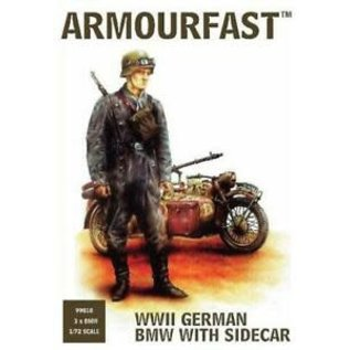 HAT 8126 WWII GERMAN MOTORCYCLE WITH SIDECAR 3 PACK 1/72