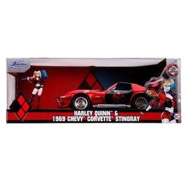 """JADA TOYS JAD 31196 Jada 1/24 """"Hollywood Rides"""" 1969 Corvette Stingray with Harley Quinn 1/24 DIECAST"""
