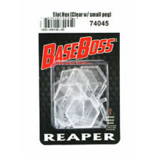 REAPER REA 74045 1 INCH TRANSPARENT SLOTTED HEX W/ SHORT HOVER PEG (10 BASES, 10 PEGS)