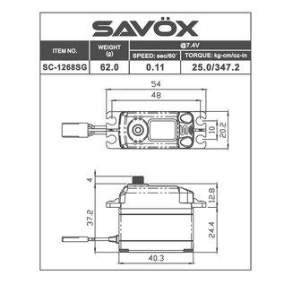 Savox SAV SC1268SG SERVO .11/347.2 1/10 HV