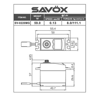 Savox SAV SV0220MG High Voltage Standard Digital Servo 0.13sec / 111.1oz @ 7.4V
