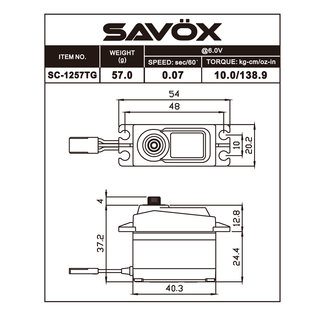 Savox SAV SC1257TG SERVO Standard Size Coreless Digital Servo 0.07sec / 139oz @ 6V