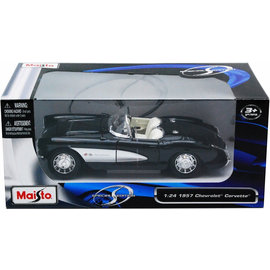 MAISTO MAI 31139 CORVETTE 1957 1/18 BLACK DIE CAST