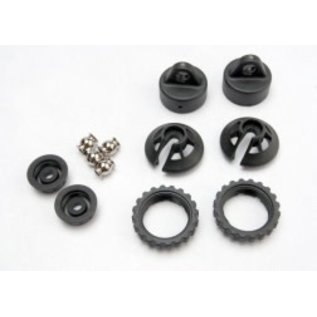 TRAXXAS TRA 5465  Caps and spring retainers, GTR shock (upper cap (2)/ hollow balls (2)/ bottom cap (2)/ upper retainer (2)/ lower retainer (2)) REVO SUMMIT JATO E-REVO