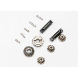TRA 7082  Gear set, differential (output gears (2)/ spider gears (3))/ differential output shafts (2)/ 1.5x6mm pin (3)/ 1.5x8mm pin (2) 1/16 REVO SUMMIT SLASH