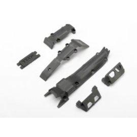 TRAXXAS TRA 7037   Skidplate set, front (1)/ rear (1)/ transmission (1)/ steering servo guards (2) / steering servo cover plate (1) 1/16 REVO SLASH SUMMIT